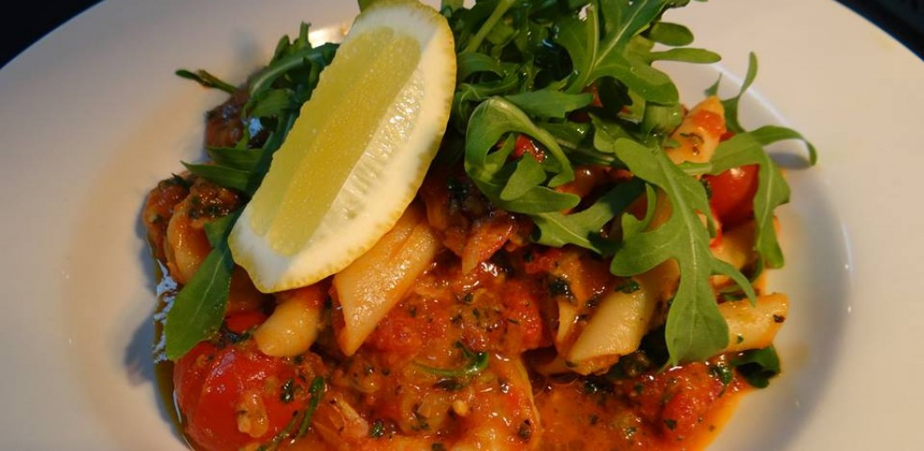 Cooroy Prawn Chorizo Penne pasta with rocket